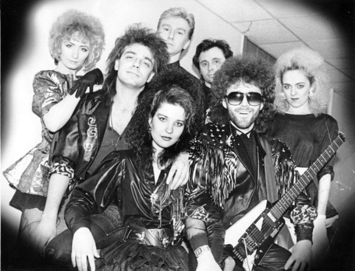 """Екатерина Болдышева (в центре) и группа """"Мираж"""", 1990 г"""