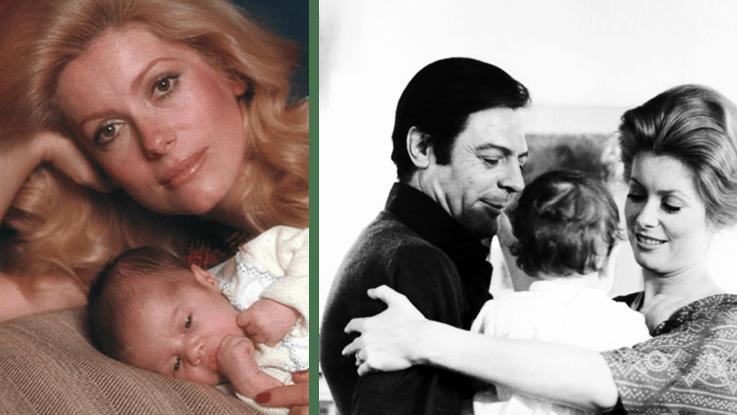 Катрин Денев и Марчелло Мастроянни с новорожденной дочерью Кьярой