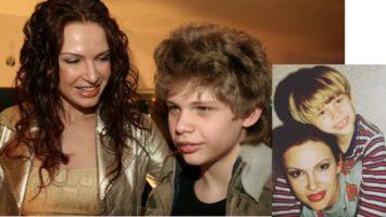 Эвелина Блёданс и ее старший сын Коля в детстве