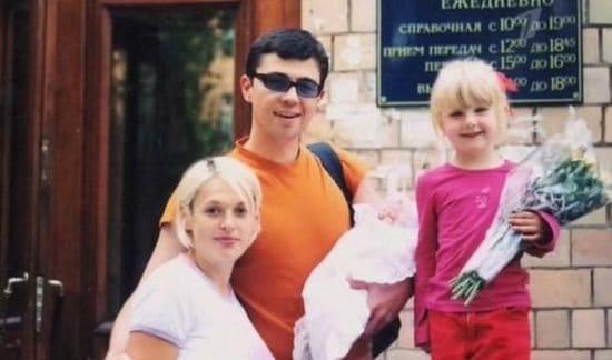 Сергей Бодров с женой и детьми